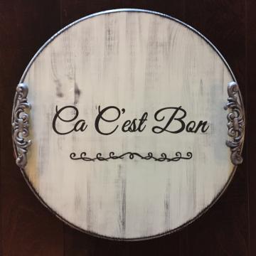 """Decorative Serving Platter, Ca C'est Bon, 18"""", hand painted"""