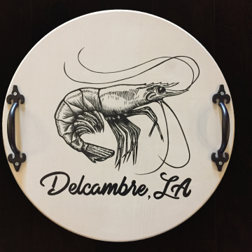 Decorative Serving Platter, Shrimp with Delcambre LA, 18""