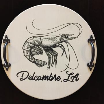 """Decorative Serving Platter, Shrimp with Delcambre LA, 18"""""""
