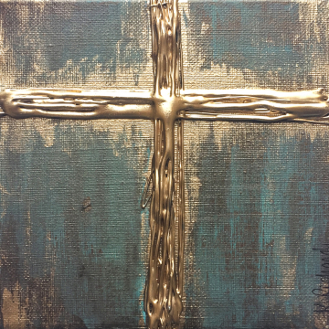 "Gold Cross Knife Painting 6""x6"", thick texture, gold leafing, hand painted"