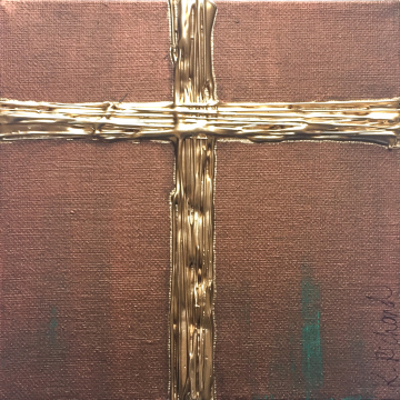 "Gold Cross on Aged Bronze, Heavy Texture Knife Painting 6""x6"", hand painted 2"