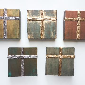 """Gold Cross on Aged Bronze, Heavy Texture Knife Painting 6""""x6"""", hand painted 2"""