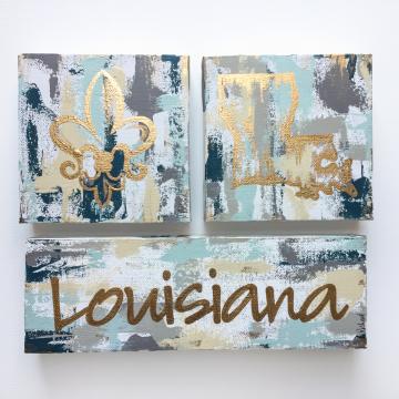 "Gold Louisiana State Knife Painting Set, fleur de lis, 6""x6"", gold leafing"