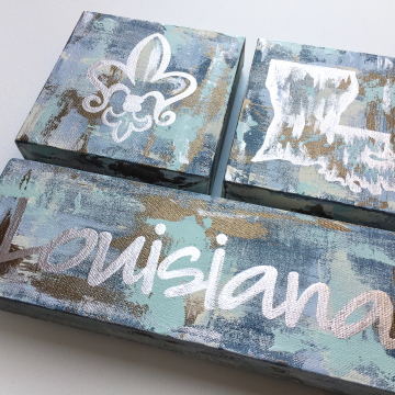 "Silver Louisiana State Knife Painting Set, fleur de lis, 6""x6"", gold leafing, blue"