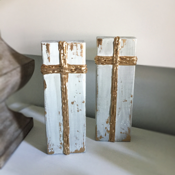 """Gold Cross on painted aged wood, Heavy Texture Painting 4""""x12"""", hand painted"""