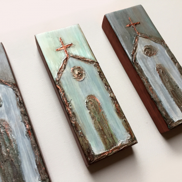 "Church on painted wood, Heavy Texture Painting 4""x12"", hand painted on wood"