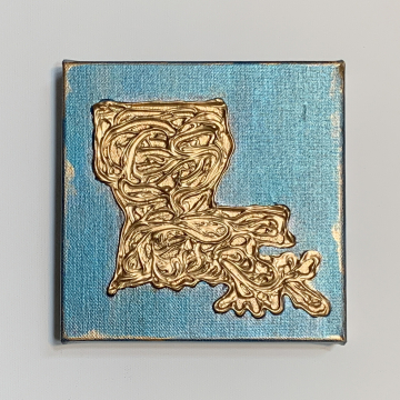 "Gold texture Louisiana State Painting 6""x6"""
