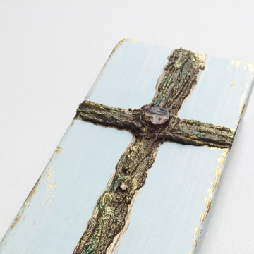 Antique gold and bronze Cross with embellishment, 4x12