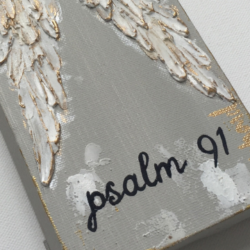 Angel Wings on canvas, texture paint, gold, white, Psalm 91, 4x12