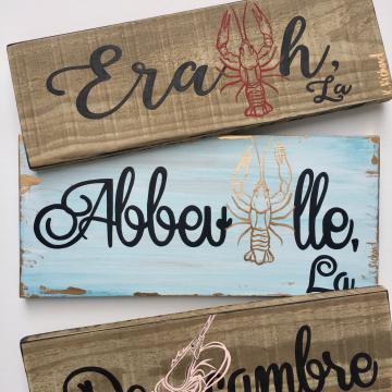 Hand painted home town plaques, custom gift, 6x14