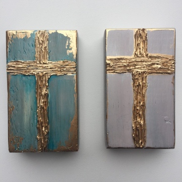 "Gold Cross on painted wood, Heavy Texture Painting 4""x6"", hand painted"
