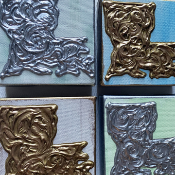 Gold or silver louisiana state on canvas, 4x4
