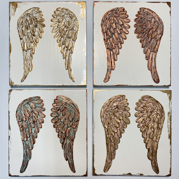 Angel Wings on wood, texture paint, gold, white, 8x8