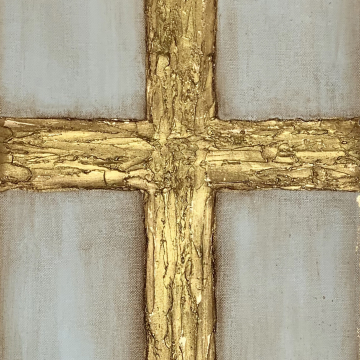 Gold Cross knife painting with heavy texture on canvas, 12x24