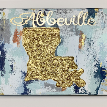 "Gold Louisiana State Knife on Antique White Painting 8""x10"", gold leafing"