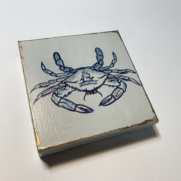 Crab, hand painted, Blue, 6x6