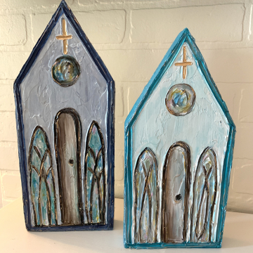 """Church on painted wood, Heavy Texture Painting 6""""x12"""", hand painted on wood"""