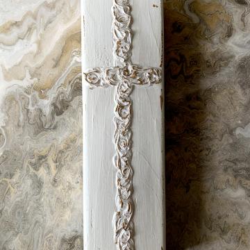 Cross, Metallic White, 4x12, hand painted