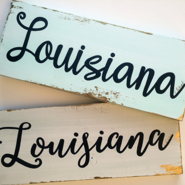 Louisiana sign, white and gold, 6x14, wood sign