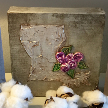 "Painted Louisiana State 6""x6"", with textured flower design"