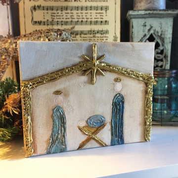 "Nativity on painted wood, Heavy Texture Painting 8""x10"", hand painted on canvas"