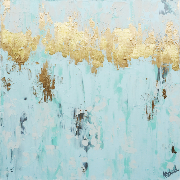 White Gold Leaf Mixed Media Abstract Painting with water color, acrylic and gold leaf, mint green, gray, 20x20
