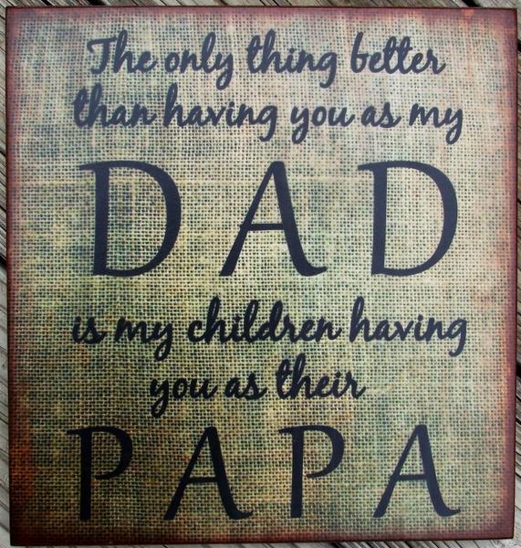 Burlap Dad Papa Wood Sign