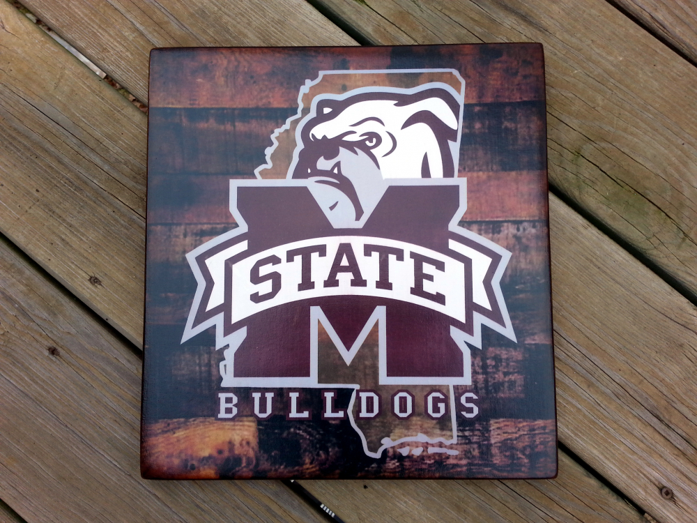 Mississippi State Bulldogs Distressed Wood Plaque 12x12