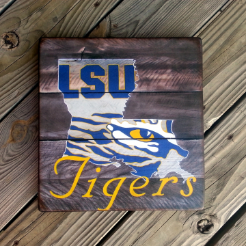 lsu wood sign, gift, tigers