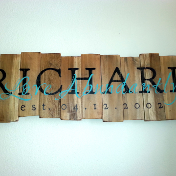 Family Name and Established Date with Love Abundantly on reclaimed wood Rustic Elegance
