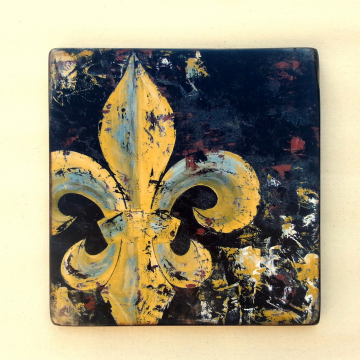 Original Fleur de Lis knife painting reproduction with painted accents on wood mustard