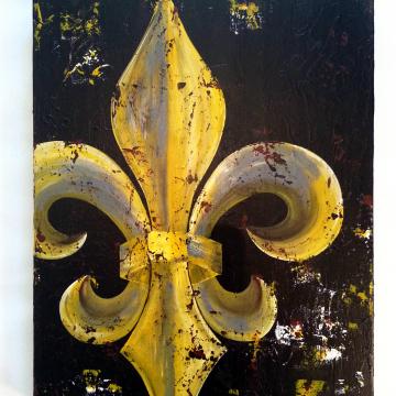 Fleur de Lis Original Painting on Canvas 14x18 Mustard