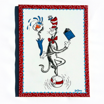 Dr Seuss hand painted canvas - cat in the hat balancing on ball with fish - dr seuss canvas - 18x24