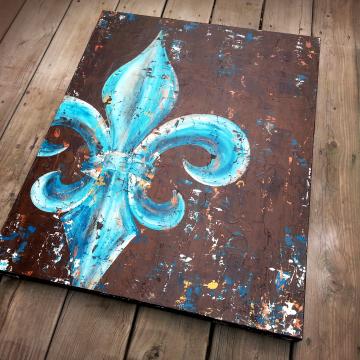 Fleur de Lis original painting on canvas peacock teal & gold 24x30
