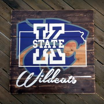 "Kansas State Wildats wood sign 36""x36"", reclaimed wood, Original Design, K State, wall art, wood sign, pallet sign, pallet art"