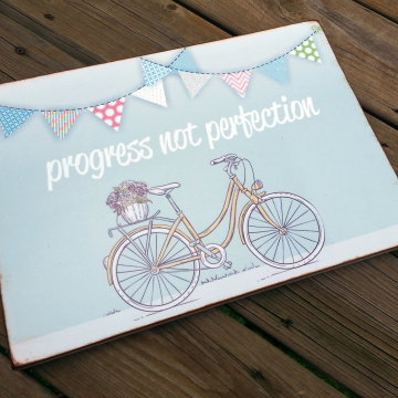 Teacher Gift - Progress not Perfection - Bicycle and Flowers