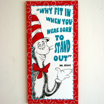 Cat in the hat hand painted canvas, Why fit in when you were born to stand out, dr seuss canvas - 12x24