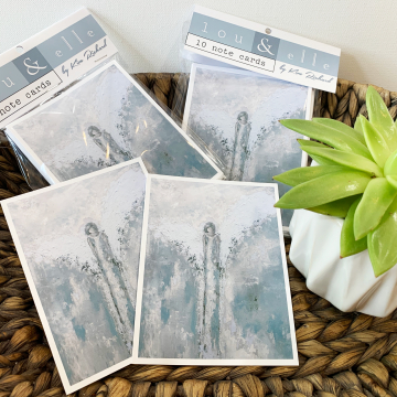 Angel Note Cards, blue, Lou and Elle Note Cards, 10 pk