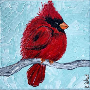 "Red Cardinal painting, 6""x6"""