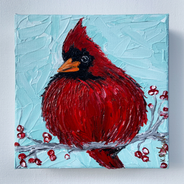 """Fluffy Red Cardinal painting, 6""""x6"""""""