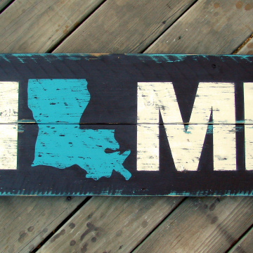 Home State Sign, hand painted, distressed wood plank, pallet sign, turquoise, brown and white, Home State Sign