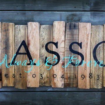 Family Name and Established Date with Always and Forever on reclaimed wood Rustic Elegance