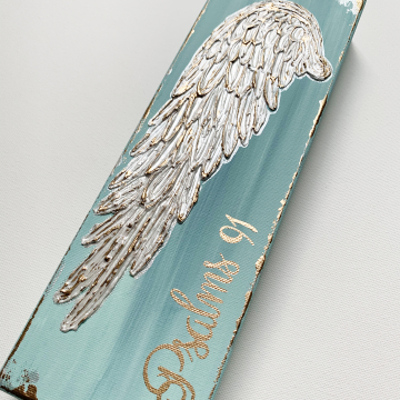 Angel Wing on canvas, texture paint, gold, blue, Psalm 91, 4x12