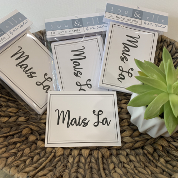 Mais La, Lou and Elle Note Cards, French Word Note Cards, 10 pk