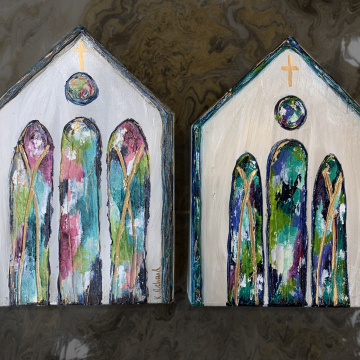 "Church on painted wood, Heavy Texture Painting 6""x8"", hand painted on wood"