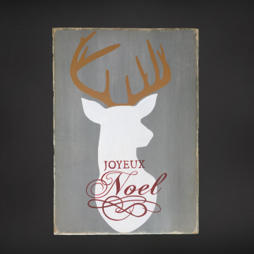 Hand painted wood sign, Joyeux Noel with Deer, Gray, White, Red & Gold, Christmas, typography, wood plaque