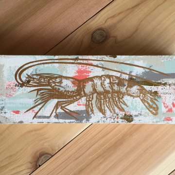 """Shrimp Knife Painting, The Louisiana Collection, 4""""x12"""", gold leafing"""