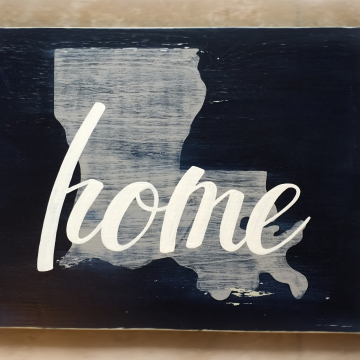 NEW ITEM Home State painted on wood, navy & gray Louisiana