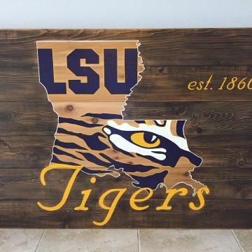 "LSU Tigers wood sign 36""x48"", reclaimed wood, Original Design, Louisiana, wall art, wood sign, with LSU est. date"