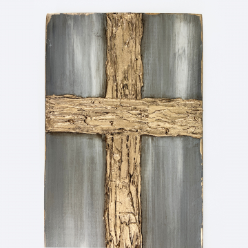 Cross, heavy texture, metallic gold, variety of grays, 8x16